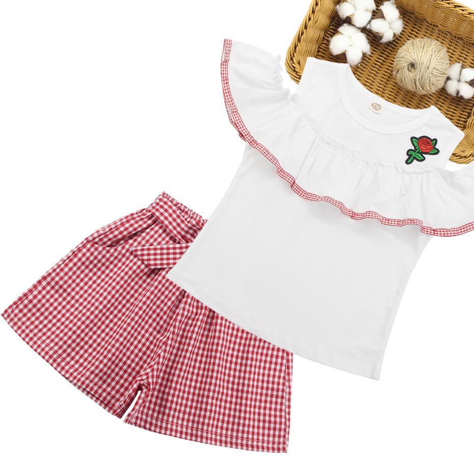 Ropa de las niñas Subió la camisa del hombro + Pantalones cortos de tela escocesa 2 unids Traje de chicas Conjunto de chicas 2019 Ropa de verano para niños 6 8 10 12 13 14 años