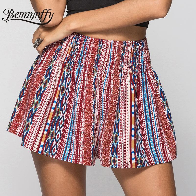 Benuynffy Boho étnico Imprimir Verão Shorts 2020 Hot New Women Casual solta Elastic Hight cintura larga Leg Shorts Feminino desgaste da praia