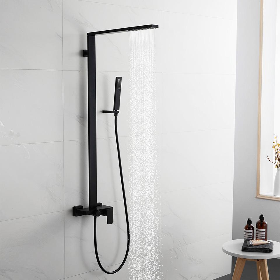 Matt Black Bath Set torneira do chuveiro de bronze sólido 3 Modos de Banho Duche Praça Rainfall Shower Head