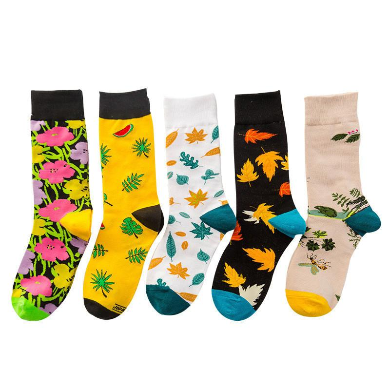 Christmas Women's Fashion Trend Printing Bright Color Socks In The Tube Casual Cotton Socks winter socks Gifts #43