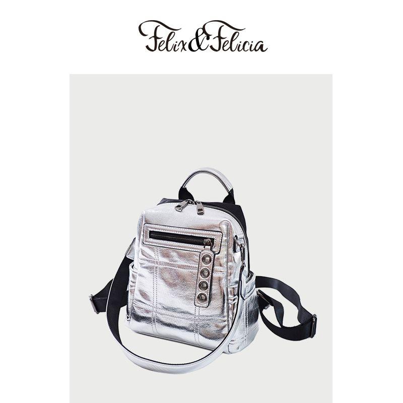 las mujeres de moda FELIXFELICIA mochilas bolsas de hombro de cuero de la PU de las mujeres del bolso de la muchacha bolsa de viaje de plata 2020 de la escuela adolescente ocasional