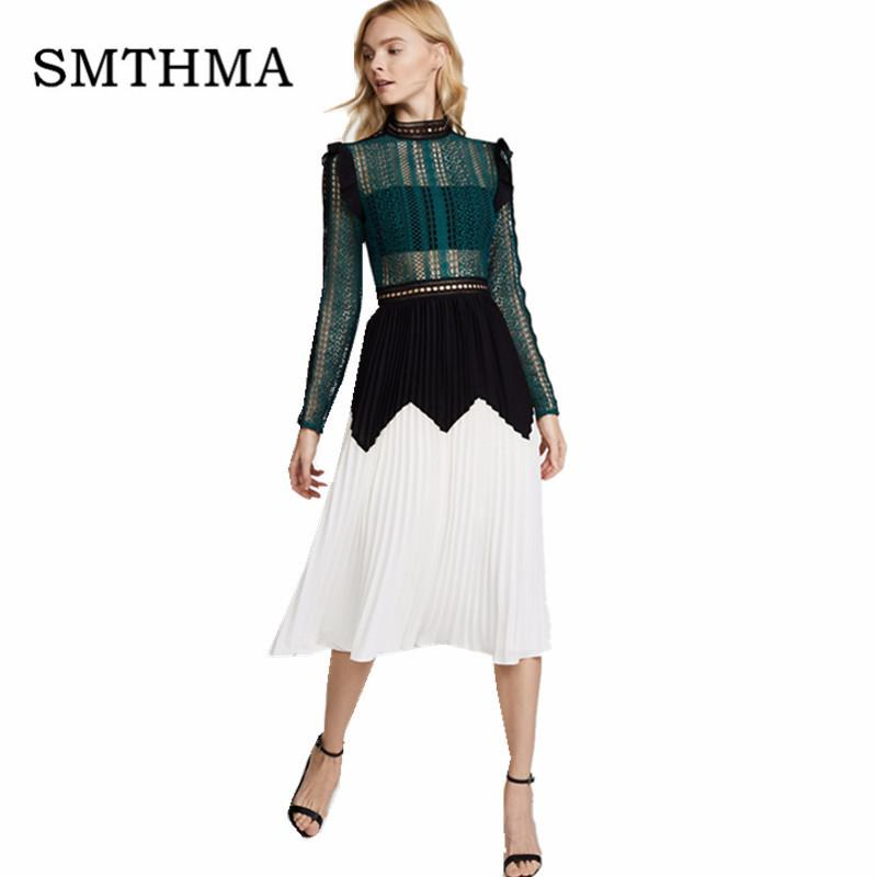 SMTHMA 2018 New arrival Self Portrait Dress Elegant Women Long Sleeve Pleated Lace Dress Green White Runway Patchwork
