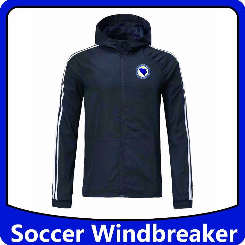 Bosnia-Erzegovina da calcio con cappuccio giacca a vento cerniera, Bosnia-Erzegovina mens calcio Giacca a vento Giacche corsa