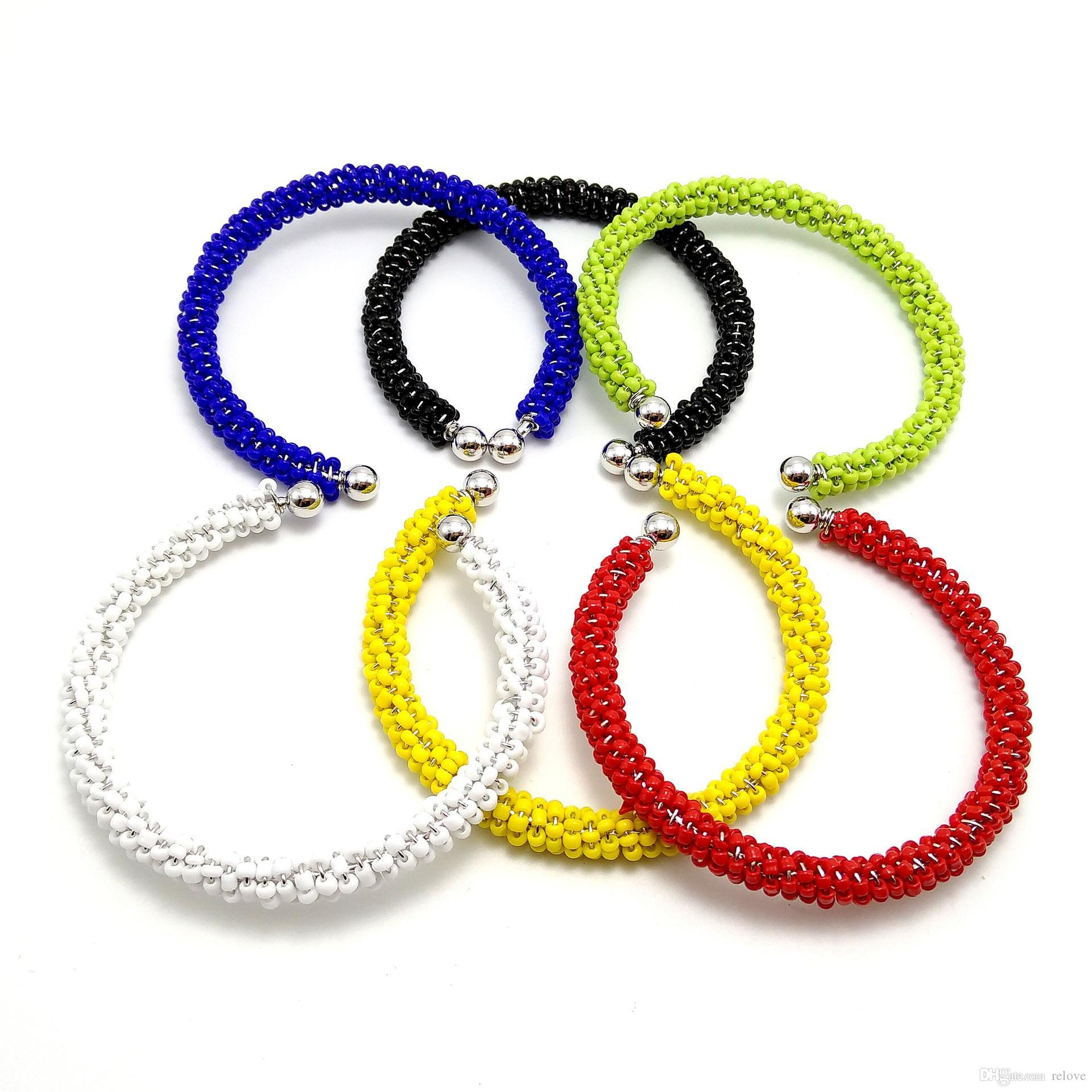 Handmade colorful rice bead Bracelet open Bangles for Women Girls match all 6 color wholesale price