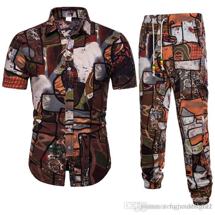 Çiçek Baskı Erkek Yaz 2pcs Casual eşofman Yaka Yaka Uzun Kollu Homme Giyim Moda Stil Gündelik Giyim
