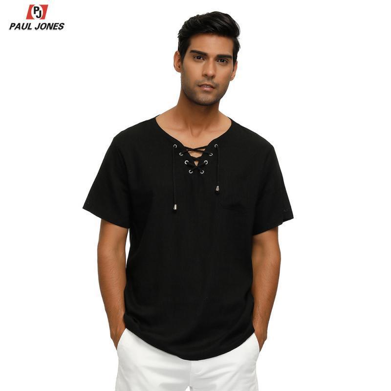 JONES мужская шнуровка шеи вискоза льняная рубашка топы стильный короткий рукав летние пляжные футболки дышащая футболка топ
