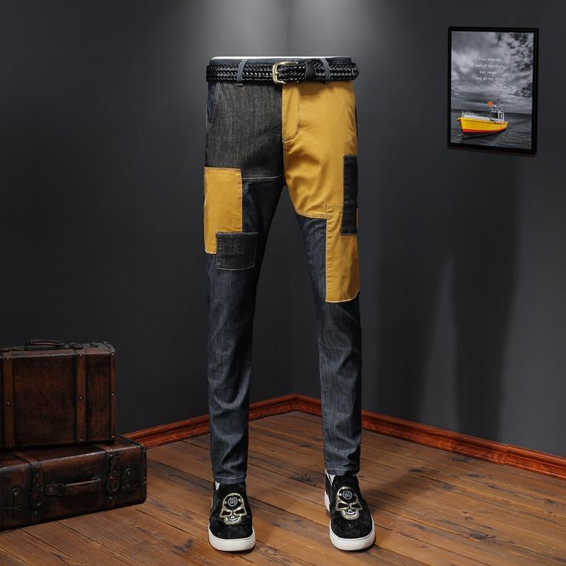 İlkbahar Yaz Moda Patchwork Jeans Erkek Harem Pantolon High Street Casual Hafif Slim Fit Uzun Pantolon İçin Erkekler