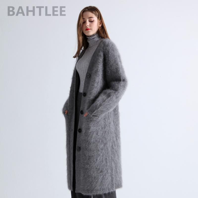 BAHTLEE 2019 Winter Wolle gestrickte Frauen Angora lange Cardigans Pullover Nerz Kaschmir V-Ausschnitt-Taste Tasche dicken Warmhalte