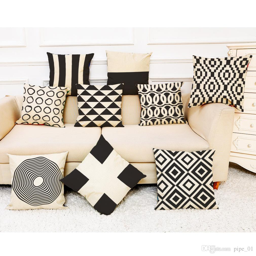 Black and White Geometric Linen Cushion Cover Home Office Sofa Square Pillow Case Decorative Cushion Covers Pillowcases (18*18inch)