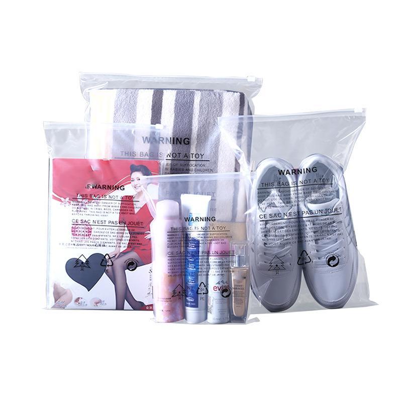 30 * 40 سنتيمتر * 12silk clothing zipper bag storage packaging bag transparent tape warning