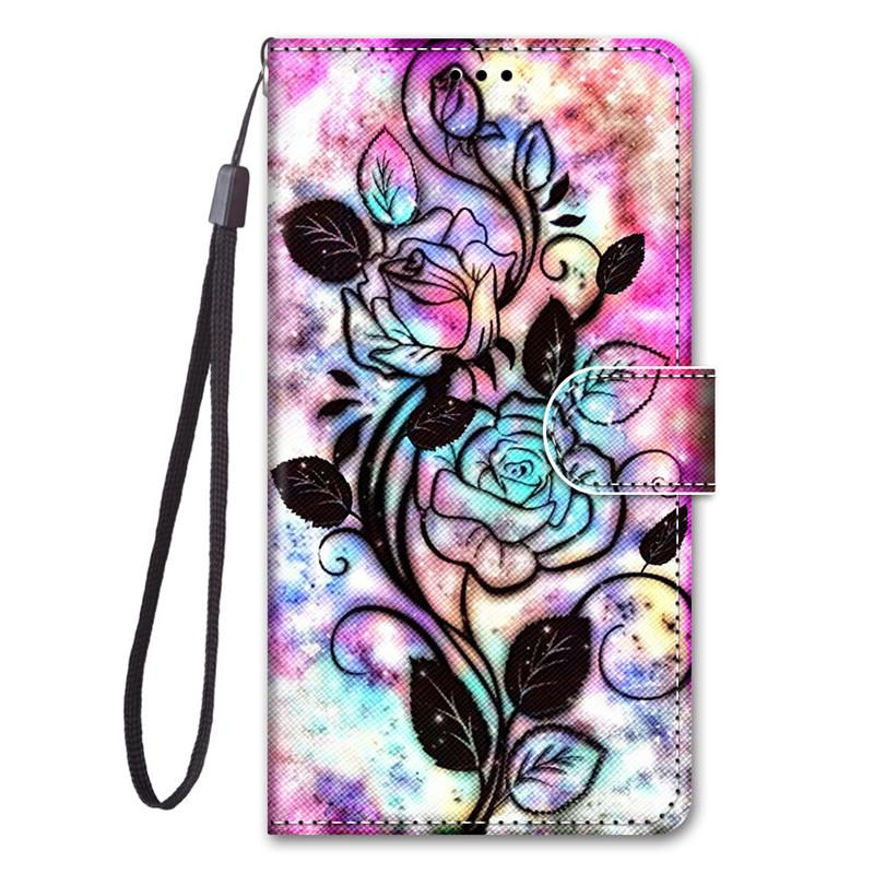 Painted Case For Samsung Galaxy A10/A10S/A2 Core/A20E/A20S/A20/A30/A40/A50/A60/M40 Filp Cover Stand With Card Slot