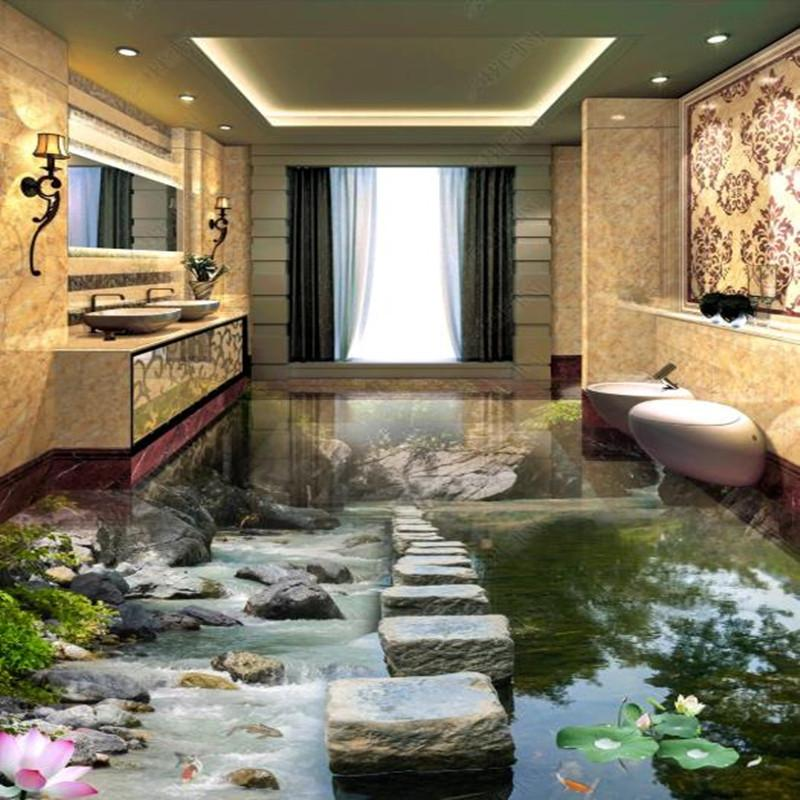 Personalizada PVC suelos Pintura 3d murales Lotus Corriente de agua en el puente Shidun en stickers de suelo Xiaoxi de trabajo baño dormitorio del papel pintado 3D
