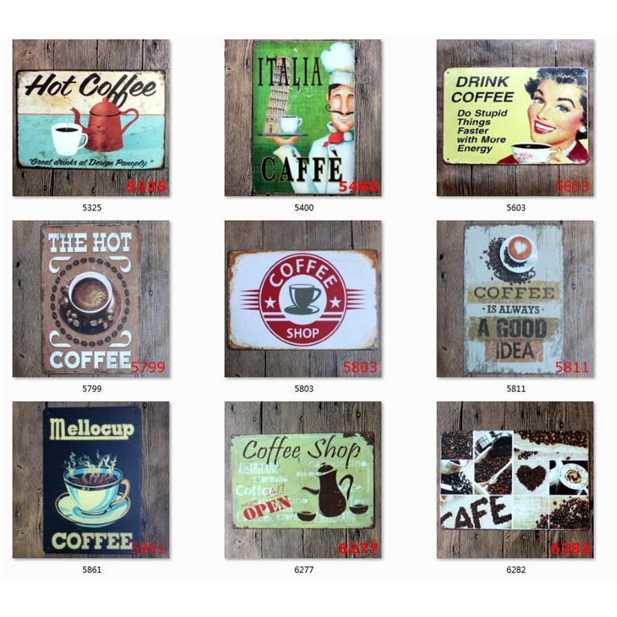 Entrar Café Tin Vintage metal Sinal Wall Decor placa de metal do vintage para o Kitchen Coffee Bar Cafe Retro Metal Pôsteres Ferro Pintura JK2006KD