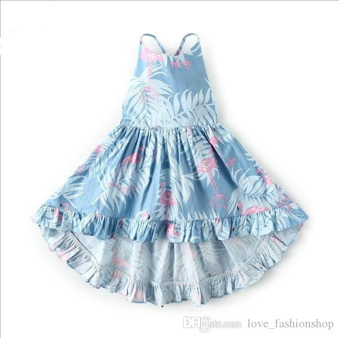 Venta al por menor 11 colores de los bebés sin respaldo vestido floral niños verano sin mangas ropa de playa de algodón bohemio impreso princesa vestidos ropa