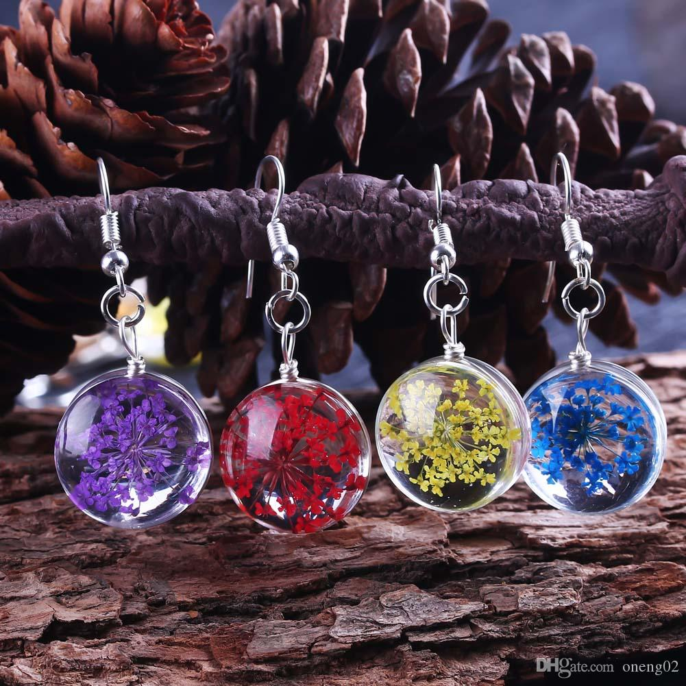 2019 Spring Dried Flower Earrings Glass Ball Pressed Flower Dangle Earing For Women Unique Korean Fashion Cute Jewelry Gifts