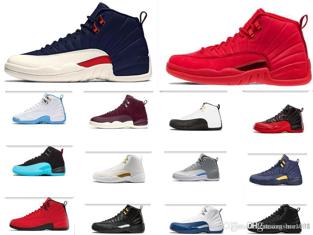 erkekler Vinterize Gym Kırmızı Michigan CNY gribi oyunu GAMMA MAVİ Karanlık için 12 12s basketbol ayakkabıları gri usta taksi erkek spor ayakkabısı 7-13