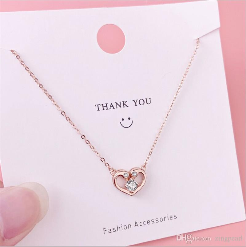 Liebes-Herz-Form-Schwan-hängende Halskette CZ-Kristall 925 Sterlingsilber Claviclekette Ketten süße Rose Goldfarbe Halsband Schmuck