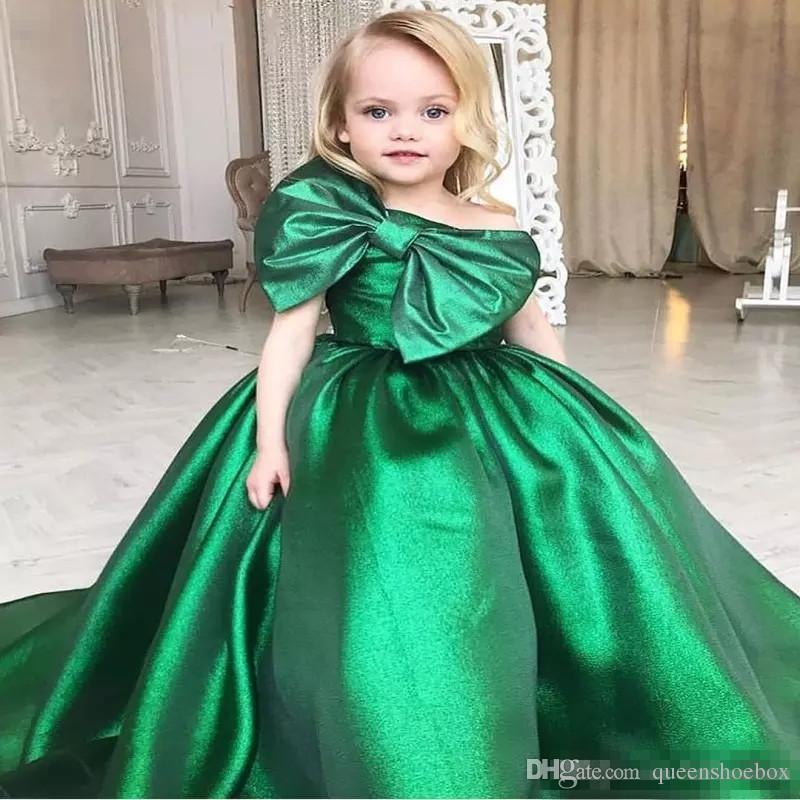 Zümrüt Yeşil Kızlar Pageant elbise Büyük Yay Ön Arapça Küçük Çocuklar Toddler Parti Balo Abiye Çiçek Kız Elbise Ucuz