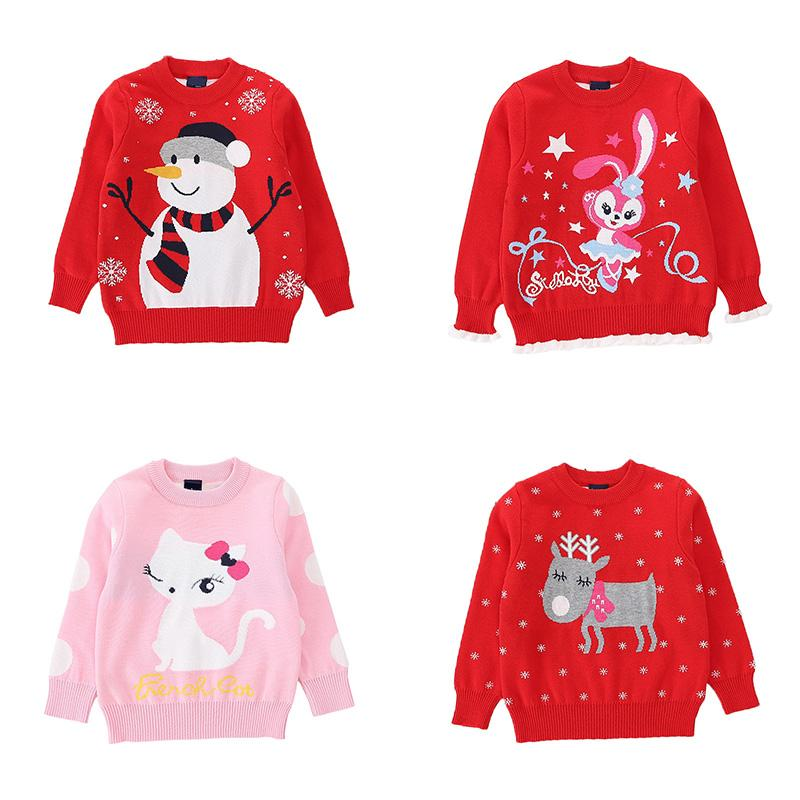 Kid Children Boy Christmas Sweater Long Sleeve O-Neck Cotton Pullover Clothing