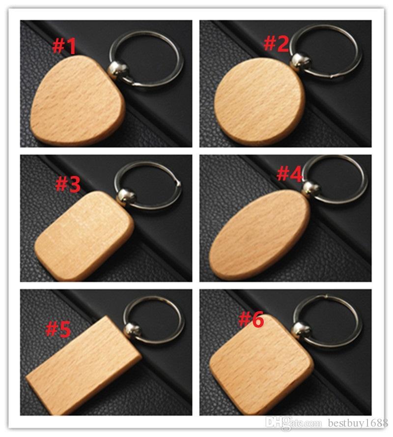 사용자 정의 귀여운 빈 나무 열쇠 고리 개인 새겨진 키 체인 DIY 사각형 광장 라운드 하트 모양 무료 배송 SQ213 조각