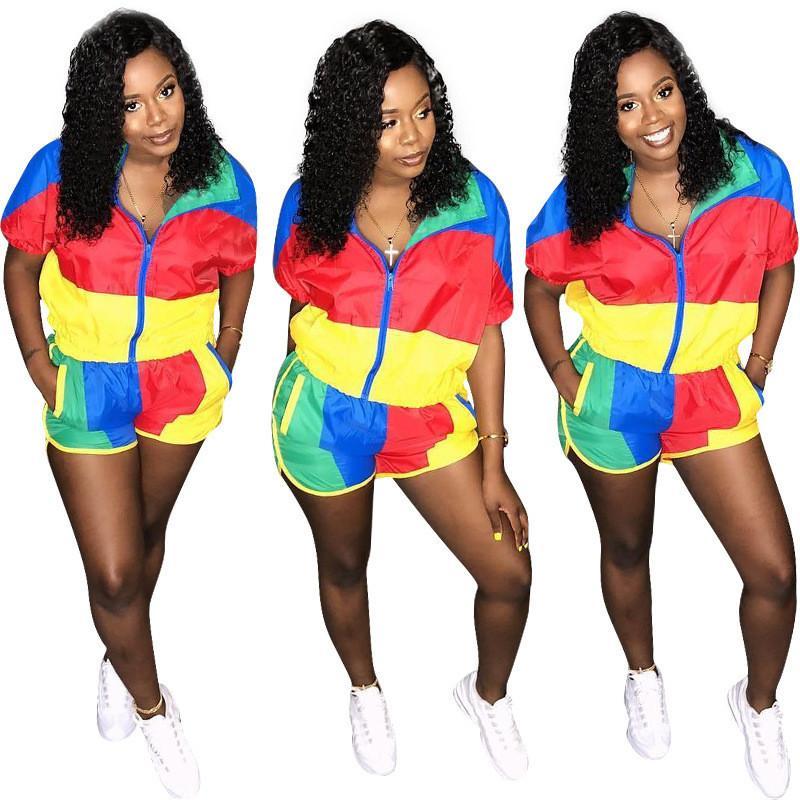 Летний женский спортивный костюм с коротким рукавом на молнии футболка топы + шорты 2шт комплект пэчворк футболка наряды солнцезащитные новый