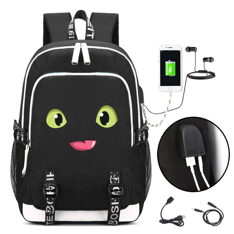 How to Train Your Dragon Backpack with USB Charging Port and Lock &Headphone interface for College Student Work