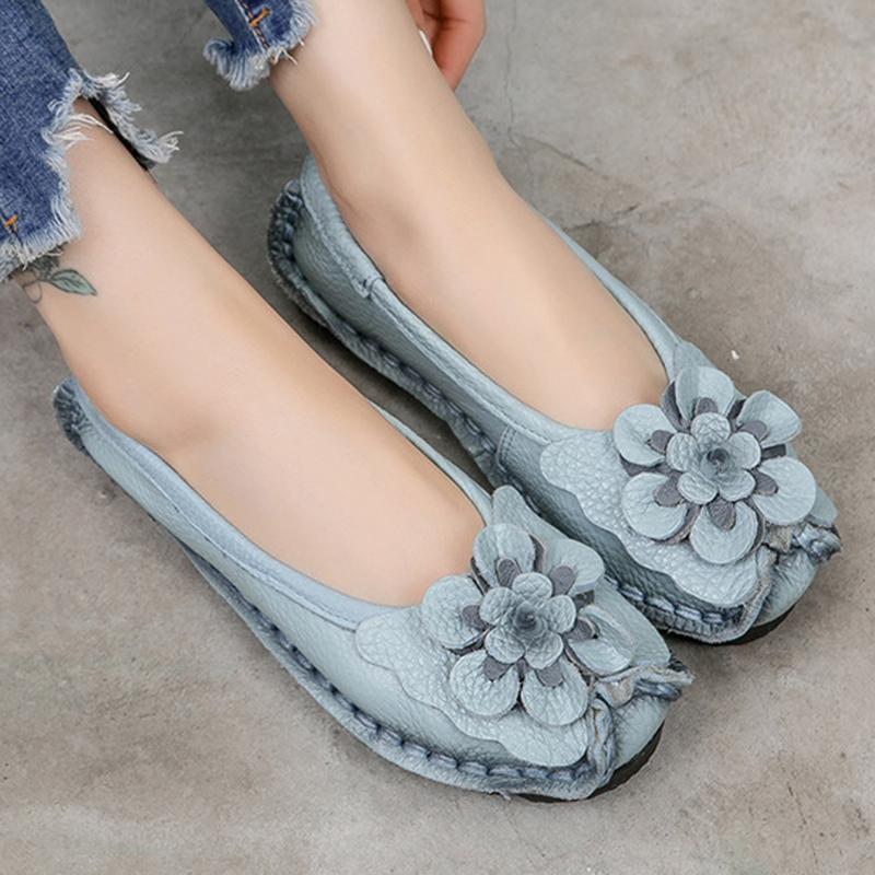 Etnik Kadınlar loafer'lar Hakiki Bölünmüş Deri Düz Topuklar Çiçek Yuvarlak Burun Yumuşak Katı Sandalet Platformu Bayan Ayakkabıları Zapatos De Mujer CJ191226