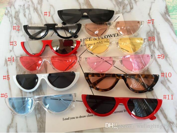 Cool Vintage Cat Eye Sunglasses Semi-Rimless Fashion Cateye Women Sun Glasses 12 Colors Metal Hinge Cheap Wholesale Eyewear