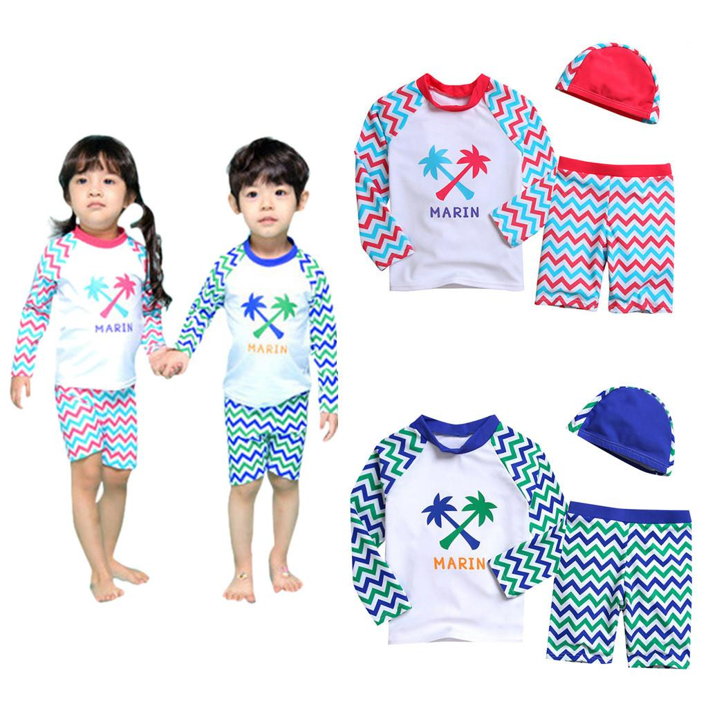 TELOTUNY 2020 Kid Baby Girl Boy Long Sleeve Letter Beach Swimwear Cap Bathing Set Clothes Baby Swimwear Fashion 18M-6Y