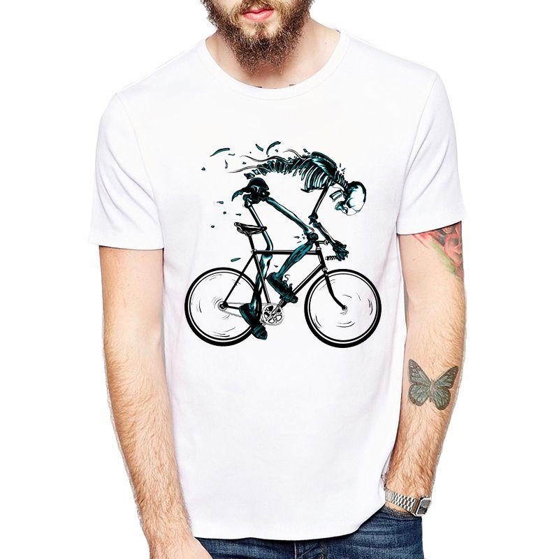 착용 자전거 T- 셔츠 남자 재미 있은 해골 자전거 디자인 반 슬리브 O- 넥 Tshirts 패션 Sku'l'l 스타일 탑스 티셔츠