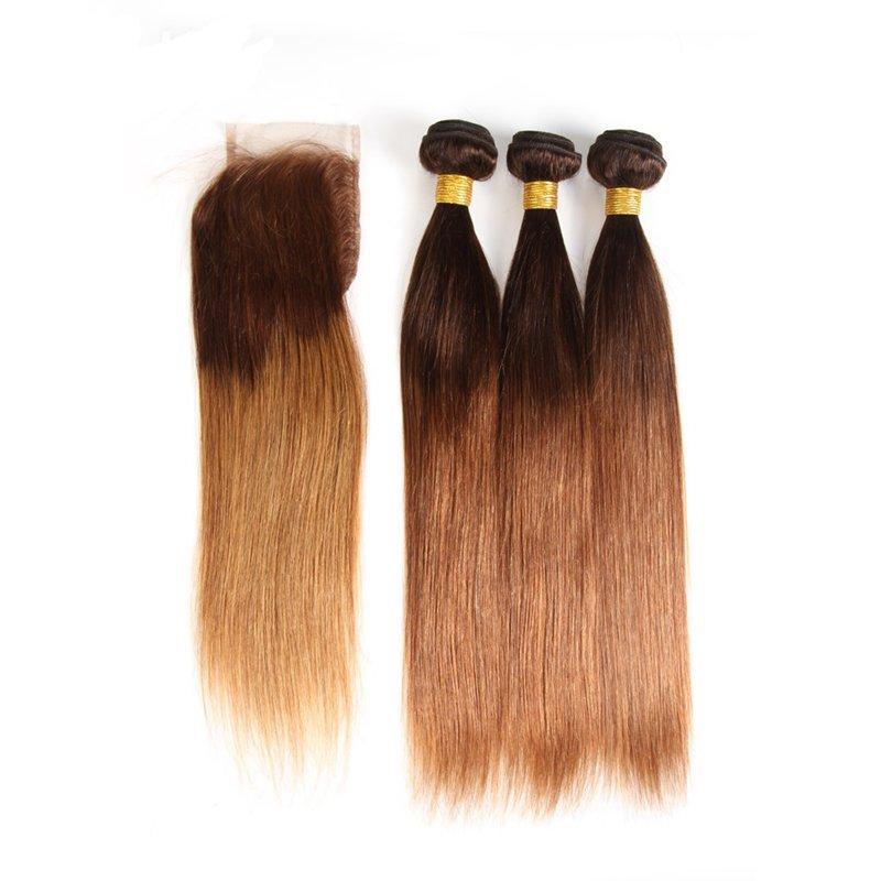 أومبير لون #t 4/30 مستقيم ريمي الشعر البشري نسج حزم 3 ينسج مع 4x4 الدانتيل إغلاق