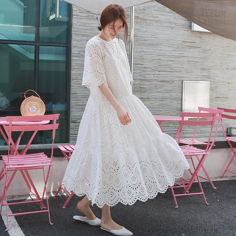 wholesale 2020 embroidery hollow out cotton white dresses summer new short sleeve round collar with sling vintage clothes YJ56300