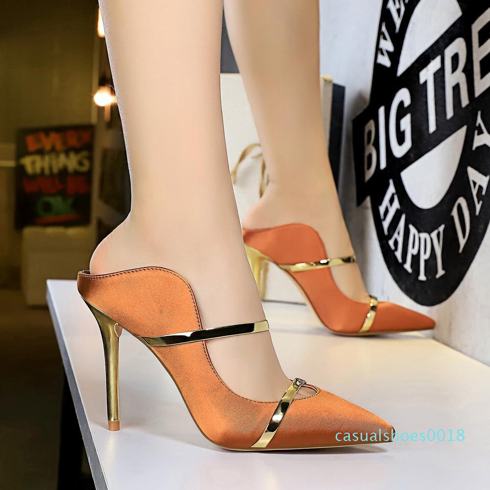 Nova saltos altos mulheres deslizamento Sapato de bico fino em Stilettos Wedding Party Bombas Sapatos básicos Gota Shiping