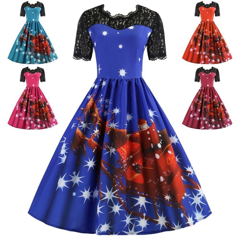 DEVOLOVE Рождество печати кружева женщин старинные платья плюс размер Hepburn ретро рокабилли качели платье Feminino халат партии Vestidos
