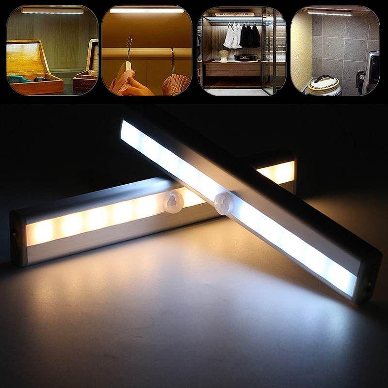 10 LED wiederaufladbare Bewegungssensor Nachtlicht Küche unter Schreiner beleuchtet drahtloser Kleiderschrank Schrank USB Batterie Beleuchtungslampe