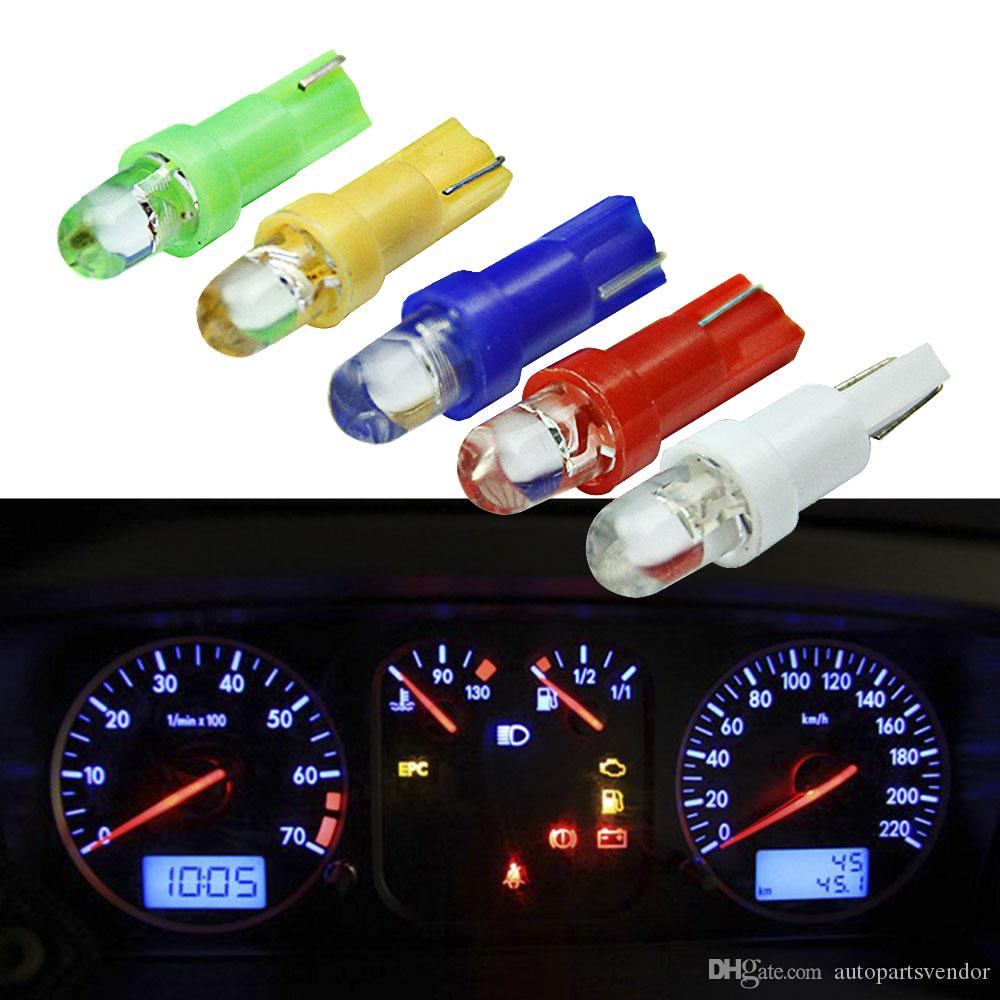 20pcs 자동차 인테리어 T5 주도 1 SMD 주도 대시 보드 웨지 1LED 자동차 전구 램프 led t5 12v 노란색 파란색 녹색 빨간색 흰색