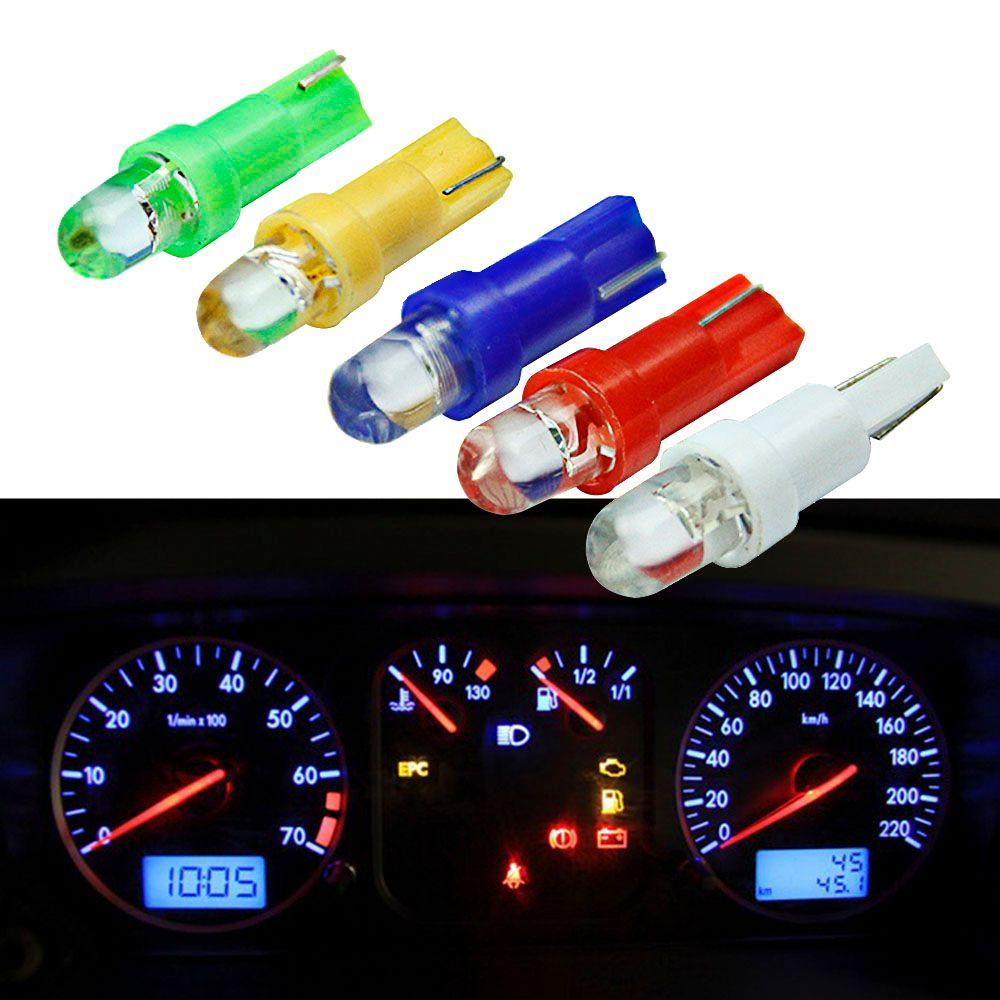20pcs voiture intérieur t5 led 1 SMD led tableau de bord Wedge 1LED lampe ampoule de voiture led t5 12v jaune bleu vert rouge blanc
