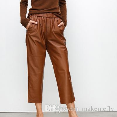 Envío gratis Mujeres Nueva Moda Real Real Genuine Ovejas Pantalones de cuero