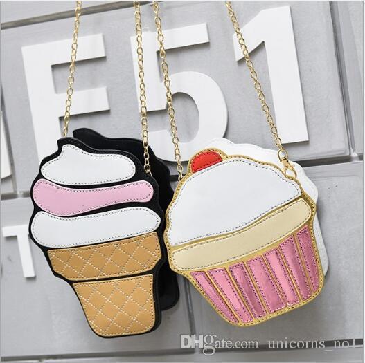 Funny Ice Cream Cupcake Handbag Messenger Zipper Bag Purse Crossbody Splicing Messenger Body Key Bag CNY1112