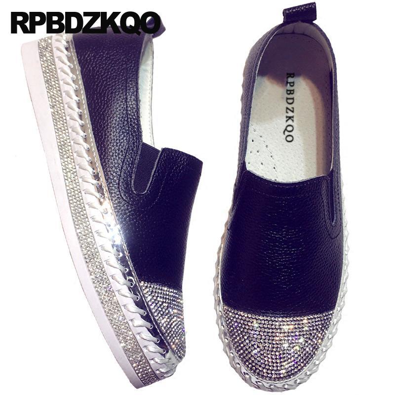 Hermosa plataforma mujeres zapatos de vestir rhinestone suela gruesa harajuku pista de cristal negro enredaderas muffin diamante pisos italiano