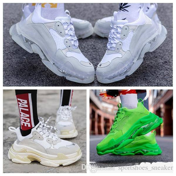 Shoe New Paris 17FW Triple S Sneakers Mens mulheres sapatos casuais Triple S Limpar Sole Branco Verde Dad Outdoor Sports Red Black Rainbow