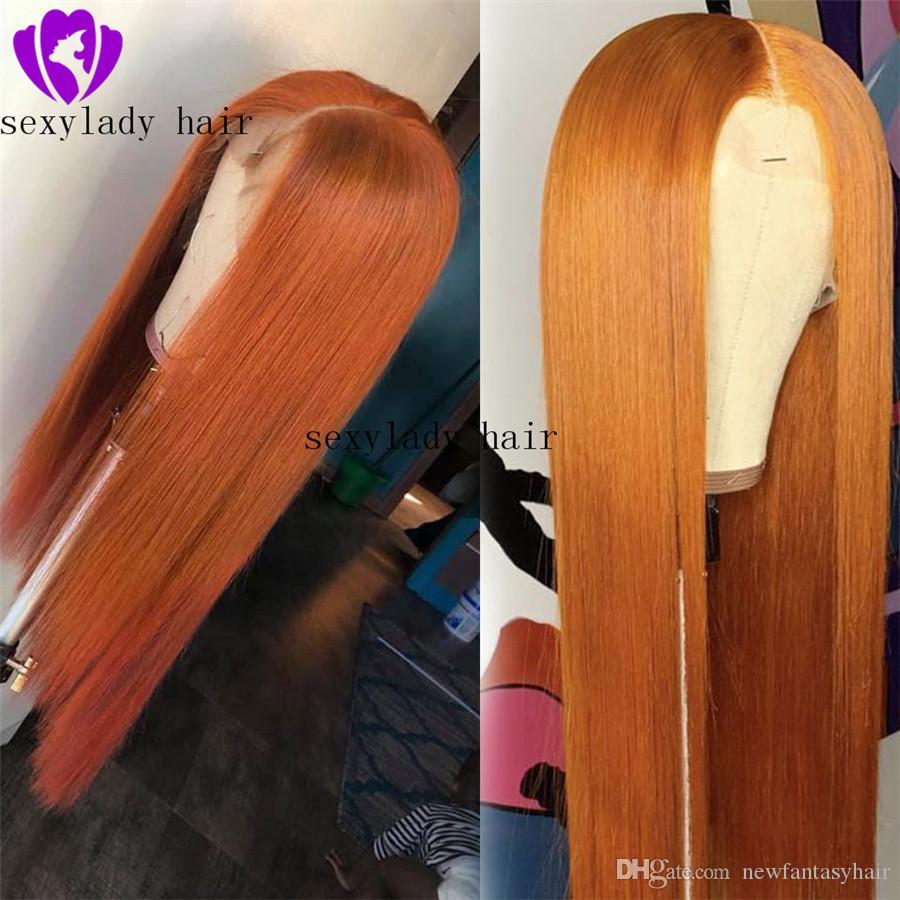 Seksi Cosplay Portakal Rengi Uzun İpeksi Düz Sentetik Dantel Peruk ile Isıya Dayanıklı Dantel Açık Peruk b Siyah Kadınlar için bebek saçlı