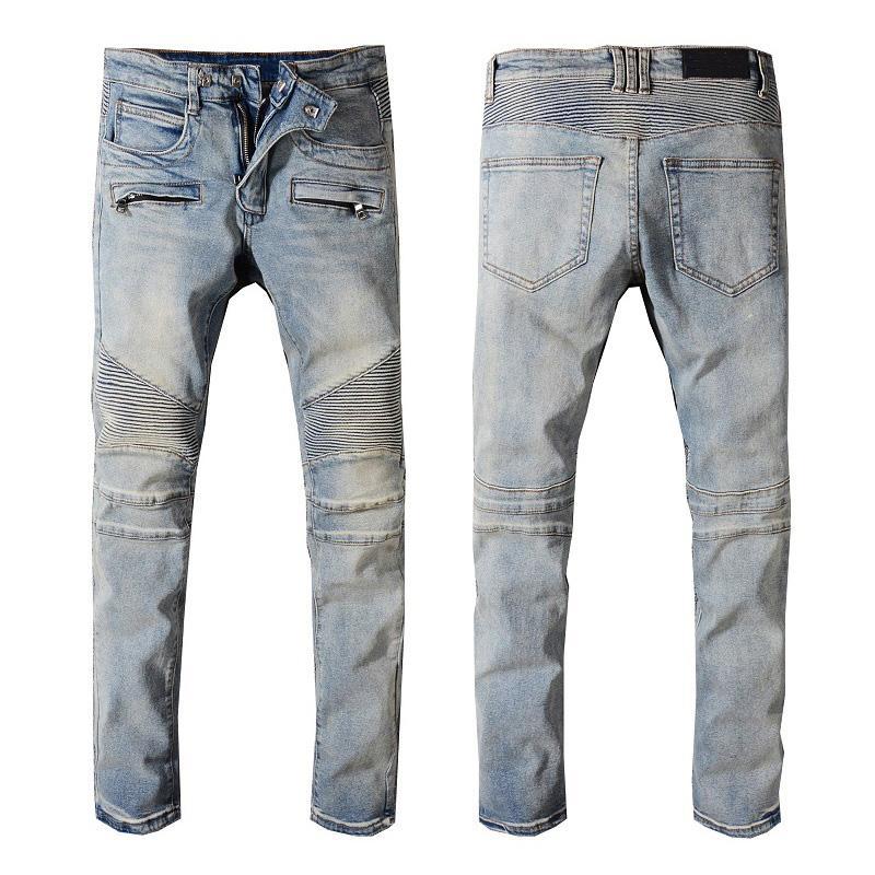 Designer jeans uomo Distressed strappato Designer Biker Jeans slim fit Motociclista di lusso del denim dei jeans autunno adattano i pantaloni