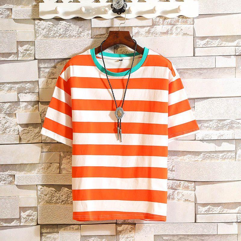 Men's T-Shirts Hip Hop Punk Short Sleeves Streetwear Fashion O NECK Striped T-shirt 2021 Summer Clothes TOP TEES Tshirt Plus Size M-5X.