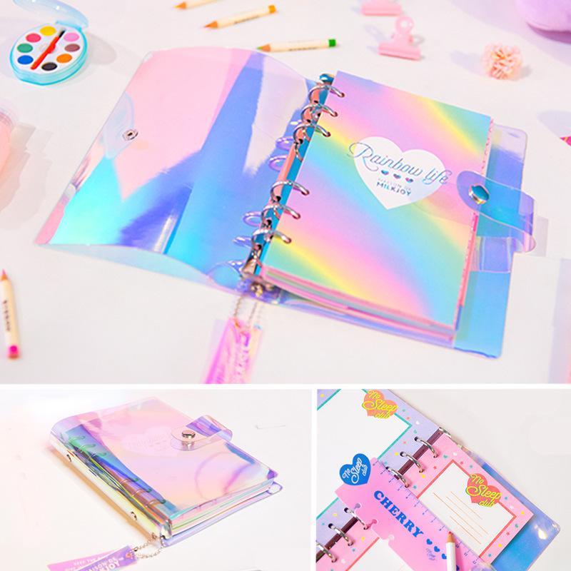 A6 Spiral Notebook Planner Organizer Divisorio Agenda settimanale personale Diario di viaggio Journal Laser trasparente arcobaleno Note Books T8190701