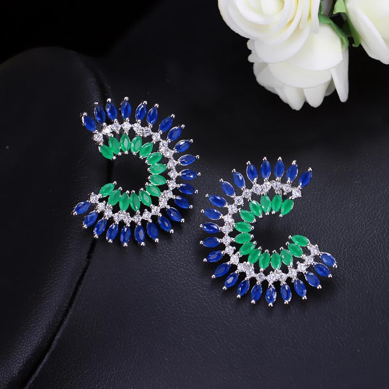 Manera- estilo de dos tonos de color imponente de circón cúbico azul grande verde del perno prisionero de las mujeres marca de moda CZ126 oído de la joyería