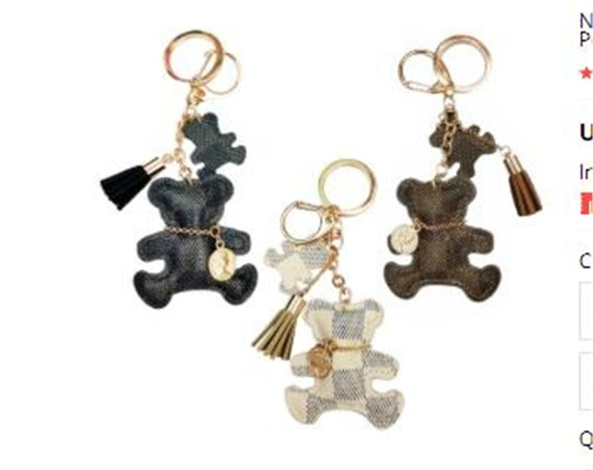 New Fashion Keychain Cute Style Bear Faux Leather Tassel Simple Decor Bag Pendant Car Key Hanging Accessories Gift