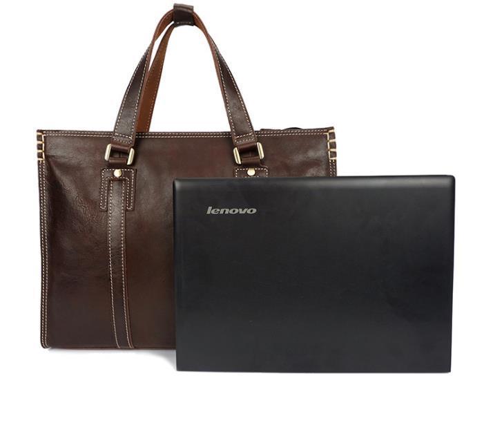 bolsa de cuero de diseño-Aceite-brillo de un solo hombro inclinado bolsa de cuero de la computadora del hombre