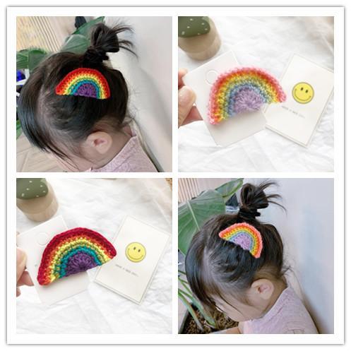 Boutique ins 10pcs Fashion Cute Crochet Rainbow Snap Clips Solid Cartoon Barrettes Hairpins Princess Headwear Hair Accessories