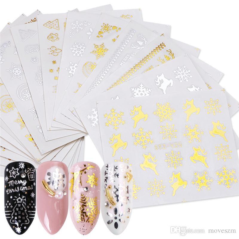 Neue 16 Blätter / Satz, Gold, Silber Weihnachten Nail Art Aufkleber Snowflake Elk Nagel Aufkleber Geschenk Nägel Maniküre-Werkzeug